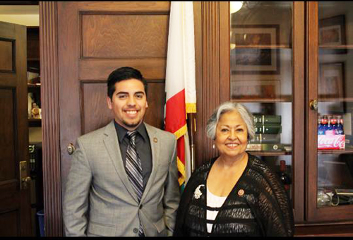 Jonathan Alvarez poses with U.S. Representative Gloria Negrete McLeod at her Washington D.C. office, where Alvarez interned this summer. (Courtesy of  Jonathan Alvarez)