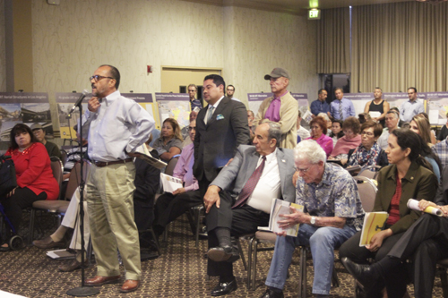 Whittier resident Richard Cisneros provides his support for the Washington route during the Eastside Gold Line extension public  hearing in Montebello Monday. (EGP Photo by Jacqueline Garcia)