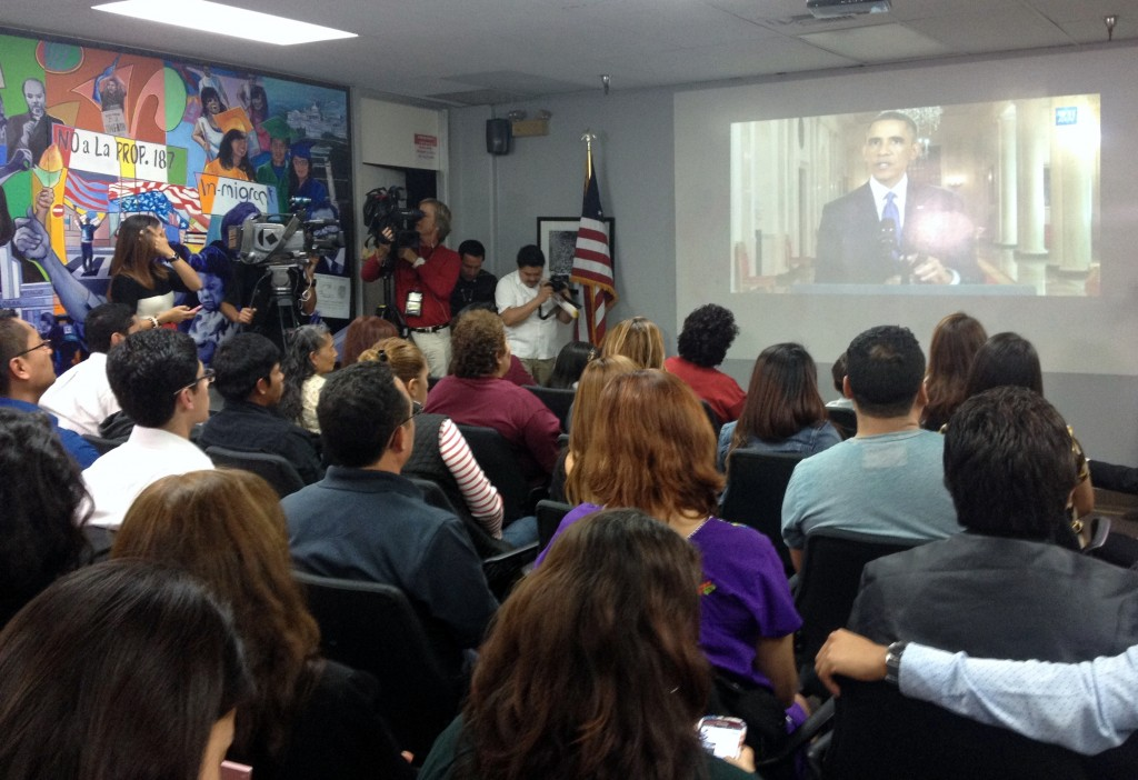 "A ""viewing party"" to watch the president discuss new executive action on immigration was held Thursday at CHIRLA headquarters in Los Angeles. (EGP photo by Jacqueline Garcia)"