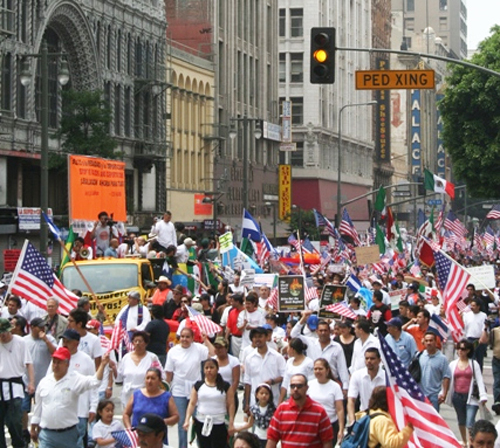 Hundreds of people walk the streets of Los Angeles during an immigration demonstration. (EGP Photo Archive)
