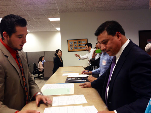 Councilmember Jose Huizar fomally filed his re-election paperwork at the city clerk's office last week.  (EGP photo by Jacqueline Garcia)