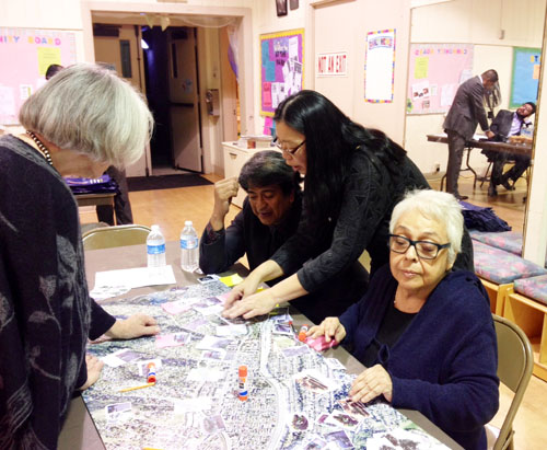 Mount Washington residents discuss which areas should be improved in their community with staff from Councilman Gil Cedillo's office (EGP photo by Fred Zermeno)