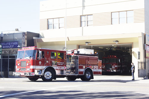 Fire truck at the Highland Park Fire Station.  (EGP photo by Nancy Martinez)