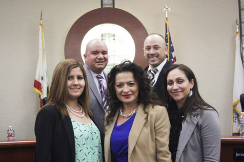 Top clockwise: Mayor Pro Tem Pedro Aceituno, Councilember Jose Mendoza, Councilmember Maria Pulido, Mayor Jennifer Rodriguez and Councilmember Priscilla Flores during Bell Garden's meeting Monday. (EGP photo by Nancy Martinez)