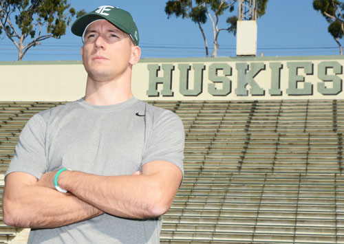 New East Los Angeles College football Coach Eric Marty is aiming to lead the Huskies to prominence by building one of the top community college programs. (Photo by Mario Villegas)