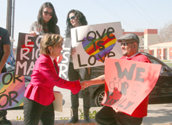 Attorney Gloria Allred greets Prop 8 protesters at the East Los Angeles County Registrar's Office. (EGP Archives 2011)