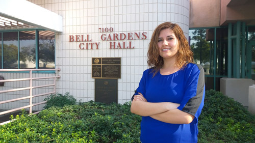 Maria Pulido, 24, is the youngest woman to serve on the Bell Gardens City Council.  (EGP photo by Nancy Martinez)