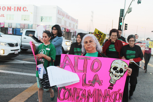 Residents from Boyle Heights, Maywood and Huntington marched down Vernon streets protesting Exide.   (East Yard Communities )
