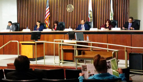 Six city council candidates participated in a debate at city hall Monday.  (EGP photo by Jacqueline Garcia)