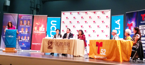 The CD-14 debate between three of the five candidates was held last week at Luther Burbank Middle School in Highland Park . (EGP photo by Jacqueline Garcia)