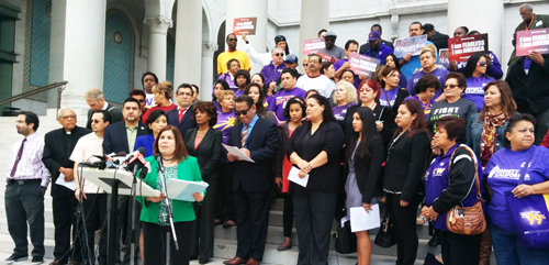 Pro-immigrant rights groups, supporters and immigrant families gathered at L.A. City Hall Tuesday to express discontent with a Texas court decision halting executive actions on immigration.  (EGP photo by Jacqueline Garcia)
