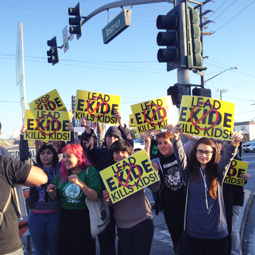 Students from Boyle Heights, Maywood and Huntington Park protested against Exide on the streets of Vernon. (East Yard Communities )