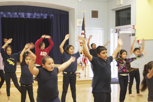 Vernon City Elementary students rehearse their dance recital during the Woodcraft Rangers afterschool program Monday. (EGP photo by Nancy Martinez)