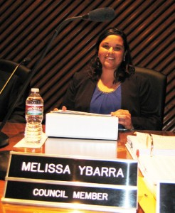 Councilmember Melissa Ybarra receives the oath of office during Vernon's city council meeting Tuesday. (City of Vernon)
