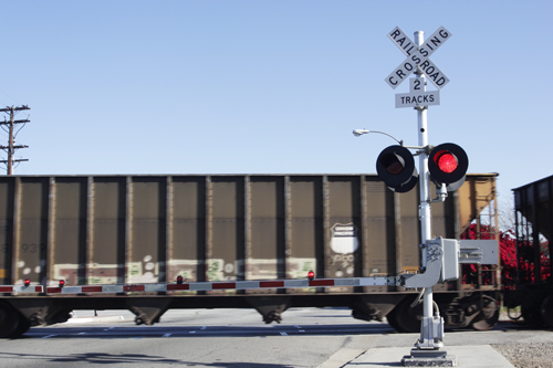 A train crosses Montebello Boulevard Wednesday morning cutting off the north and southsides of the city. (EGP photo by Nancy Martinez)