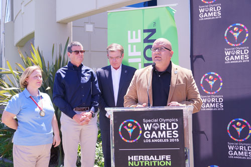 Bell Gardens Councilmember Pedro Aceituno Tuesday thanked Herbalife for partnering with the 2015 Special Olympis World Games.(Courtesy of Michael Dorman, Herbalife.)