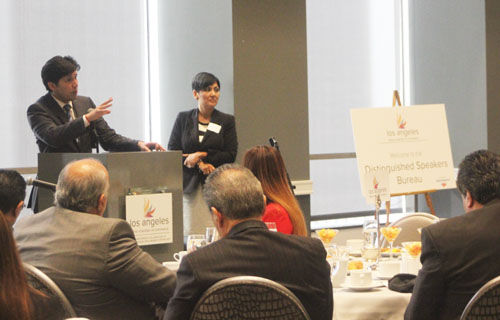 Sen. Kevin De Leon, pictured left, answers  questions from members of the Latino Los Angeles Business Chamber of Commerce April 10. (EGP photo by Nancy Martinez)