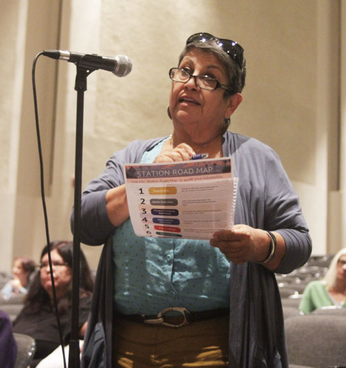 Yolanda Duarte, an East Los Angeles resident, told Metro officials her concerns with the rail alternative. (EGP photo by Nancy Martinez)