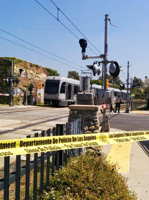 Authorities were on the scene in Highland Park of a train-on-pedestrian accident on Monday. (EGP photo by Jacqueline Garcia)