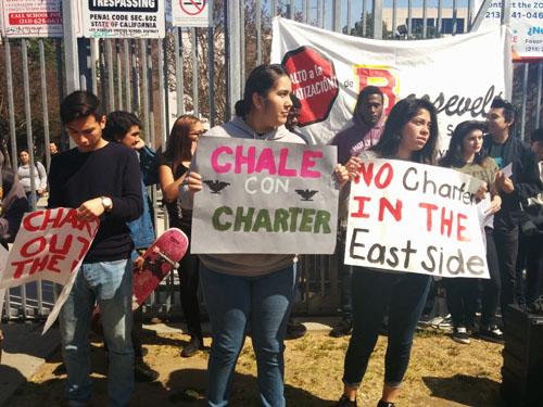 Roosevelt students celebrate the decision not to locate charter school at their campus.  (EGP photo by Jacqueline Garcia )