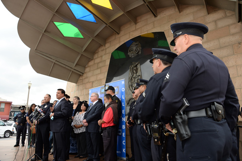 Councilman Jose Huizar and officers from the LAPD Hollenbeck division announce community policing during a press conference last week.  (Courtesy of Councilmember Jose Huizar)