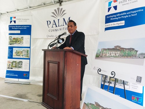 Councilman Gil Cedillo (CD-1) stated that 24 veterans and 24 low-income families will have housing by 2016 in Cypress Park. (EGP photo by Jacqueline Garcia)