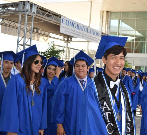 Graduates at the Applied Technology Center in Montebello were all smiles Tuesday after becoming the school's first graduating class.  (Montebello Unified School District)
