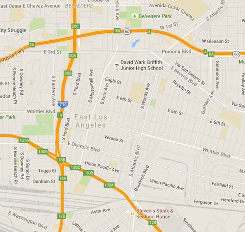 A map of East Los Angeles illustrate how the community is surrounded by freeways. (Google Maps)