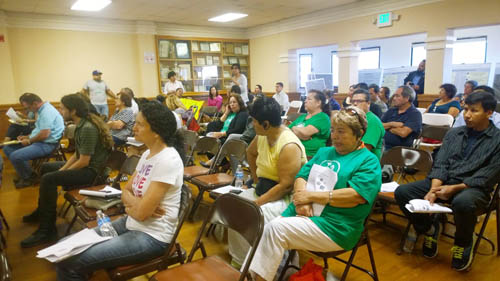 Dozens of residents from Huntington Park to Boyle Heights attended DTSC's scoping meeting June 18 at Maywood City Hall.  (EGP photo by Nancy Martinez)