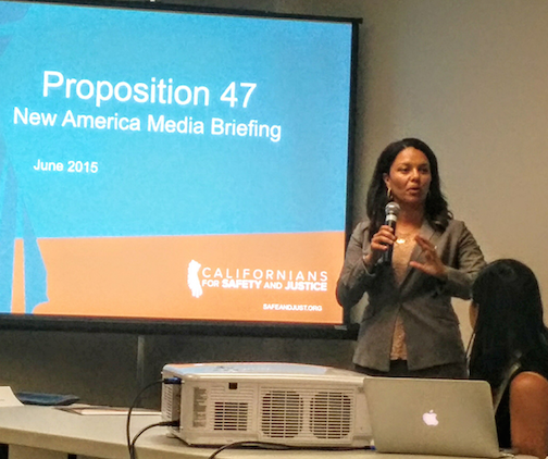 Hillary Blout explains who qualifies under Prop. 47 and where to file. (EGP photo by Jacqueline Garcia)