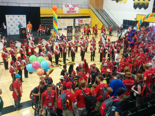 The Mark Keppel High School band and the cheer/drill team from San Gabriel High School performed for the German delegation during a pep rally Friday at Cal State LA. (EGP photo by Jacqueline Garcia)