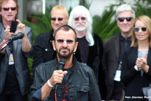 Ringo Star thanks fans outside of the Capital Records Tower Tuesday. (Photo by Fred Zermeno)