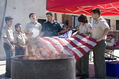 Members of Boy Scouts of America Troop 419 held a special flag retirement ceremony June 25 at Vernon Fire Station 1. (EGP photo by Nancy Martinez)