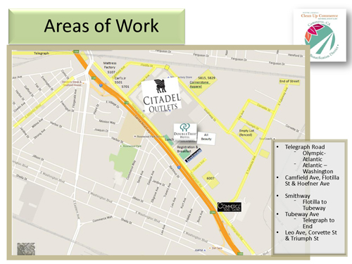 A map depicts the areas of concentration for the 2015 Clean Up Commerce event. (City of Commerce)