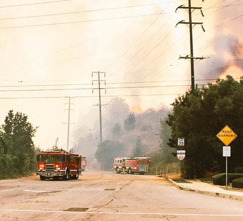 A fire that was started in the Rio Hondo Riverbed near the Whittier Narrows Reservoir, burned 225 acres in and around the Montebello Hills Sunday. (Montebello Police Department)
