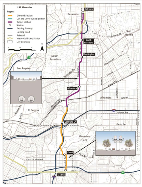 A map depicts the path of the proposed Light Rail Train alternative for the SR710 North Project, which travels  7.5 miles from Pasadena to East Los Angeles. (Metro)