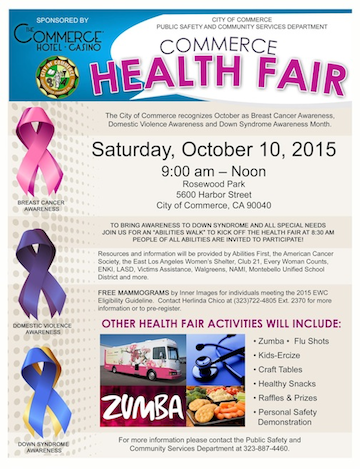 Commerce Health Fair will provide information about Down Syndrome, Breast Cancer and Domestic Violence. (Commerce)