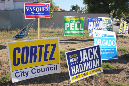 Campaign posters for candidates running in Montebello's upcoming Nov. 3 election are found throughout the city. (EGP photo by Nancy Martinez)