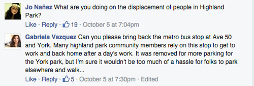Northeast residents took to Facebook Monday to ask Councilman Jose Huizar questions about district services in Highland Park. (Facebook)