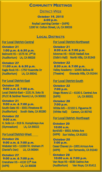 List of public meetings to provide input for the next LAUSD superintendent. (LAUSD)