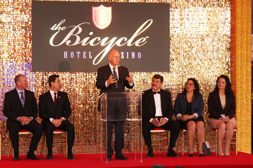 Gov. Jerry Brown, center, joined other local dignitaries at the grand unveiling of The Bicycle Casino's hotel  in Bell Gardens Wednesday. (EGP photo by Fred Zermeno)