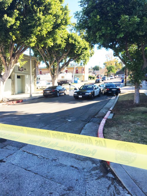 The 500 block of Wheeling Way in Montecito Heights was closed off Monday morning following an officer involved shooting.  (EGP photo by Nancy Martinez)