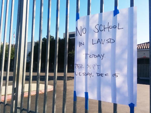 Roosevelt High School in Boyle Heights was among the 900 schools closed Tuesday due to an electronic threat.  (EGP Photo by Jacqueline Garica)