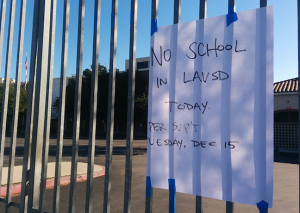 Roosevelt High School in Boyle Heights was among the 900 schools closed today due to an electronic threat. (EGP photo by Jacqueline Garcia)