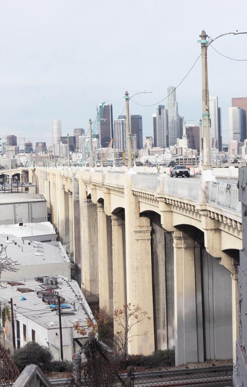 The Sixth Street Viaduct was closed to traffic Wednesday in preparation for its demolition next week. (Courtesy of Sergio Infanzon)