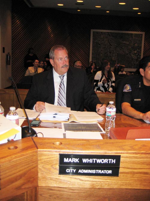 Former city administrator Mark Whitworth during a city council meeting. (City of Vernon)