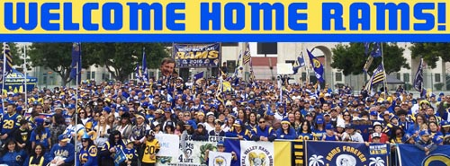 Fans of the NFL Rams celebrated the team's return to Los Angeles. (Photo courtesy of the Bring Back the Los Angeles Rams)
