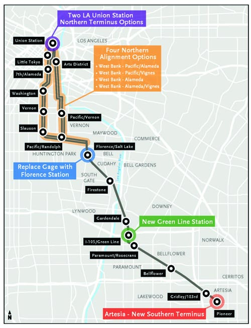 The proposed rail project would run from Union Station to the city of Artesia. (Eco Rapid Transit)