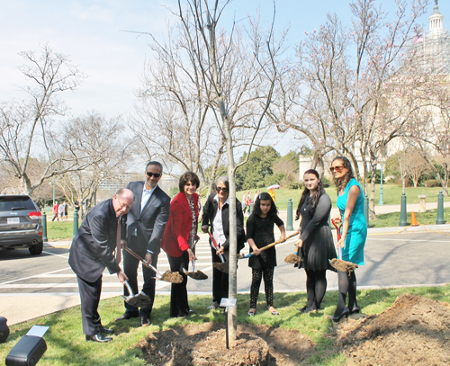 Congresswoman Roybal-Allard (third from left) and family members take part in the tree planting. (Congresswoman Roybal-Allard (third from left) and family members take part in the tree planting. (Congresswoman Roybal-Allard (third from left) and family members take part in the tree planting. (Office of Congresswoman Lucille Roybal-Allard)