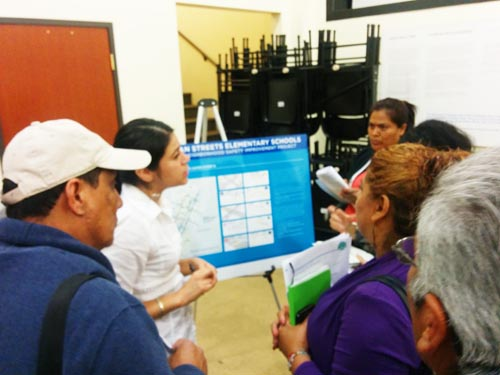 Union de Vecinos members ask questions about the improvements in Boyle Heights. (EGP photo by Jacqueline Garcia)